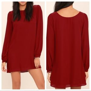 Lulus Status Update Wine Red Shift Dress.